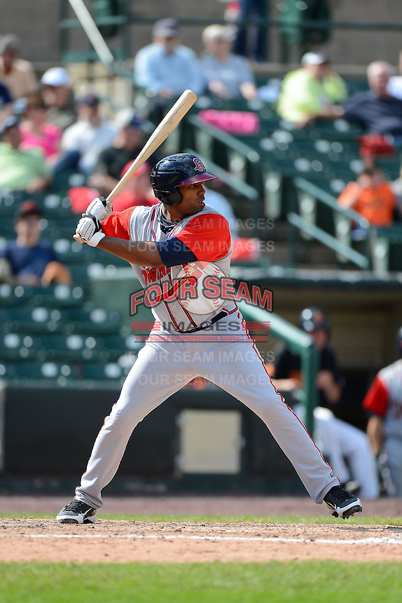 Gwinnett Braves outfielder Stefan Gartrell #15 during a game against the Rochester Red Wings on June 16, 2013 at Frontier Field in Rochester, New York.  Rochester defeated Gwinnett 6-3.  (Mike Janes/Four Seam Images)
