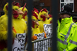 © Joel Goodman - 07973 332324 . 28/03/2015 . Manchester , UK . Labour stunt by the queue for the Conservative Party Spring Forum at the Old Granada Studios , Quay Street , Manchester , with Labour Party activists dressed as chickens and mocking David Cameron for not taking part in a direct TV debate with Ed Miliband . Photo credit : Joel Goodman