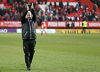 Blackpool's Manager Terry McPhillips applauds the fans at the final whistle <br /> <br /> Photographer David Shipman/CameraSport<br /> <br /> The EFL Sky Bet League One - Charlton Athletic v Blackpool - Saturday 16th February 2019 - The Valley - London<br /> <br /> World Copyright © 2019 CameraSport. All rights reserved. 43 Linden Ave. Countesthorpe. Leicester. England. LE8 5PG - Tel: +44 (0) 116 277 4147 - admin@camerasport.com - www.camerasport.com
