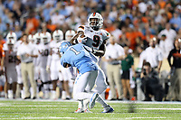 CHAPEL HILL, NC - SEPTEMBER 07: Myles Dorn #1 of the University of North Carolina tackles Brevin Jordan #9 of the University of Miami during a game between University of Miami and University of North Carolina at Kenan Memorial Stadium on September 07, 2019 in Chapel Hill, North Carolina.