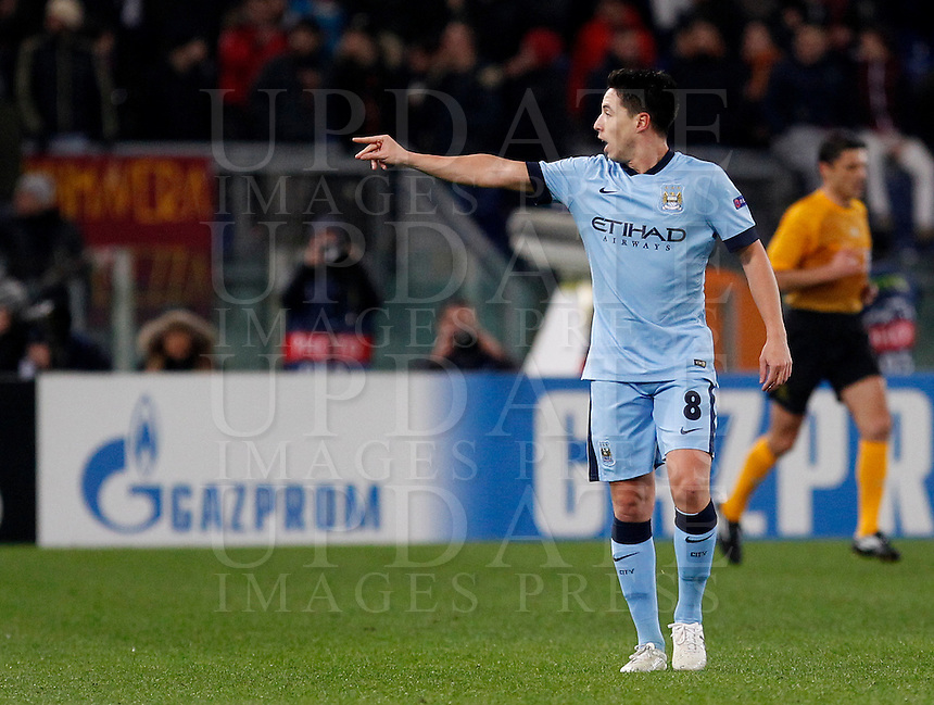 Calcio, Champions League, Gruppo E: Roma vs Manchester City. Roma, stadio Olimpico, 10 dicembre 2014.<br /> Manchester City&rsquo;s Samir Nasri celebrates after scoring during the Champions League Group E football match between Roma and Manchester City at Rome's Olympic stadium, 10 December 2014. Manchester City won 2-0.<br /> UPDATE IMAGES PRESS/Isabella Bonotto