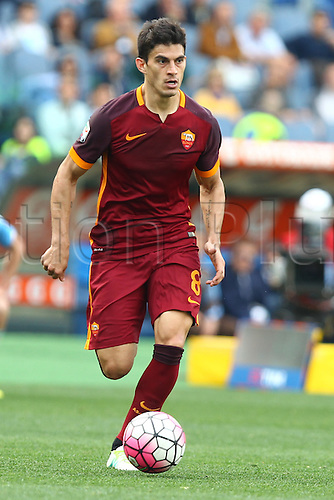 03.04.2016. Stadium Olimpico, Rome, Italy.  Serie A football league. Derby Match SS Lazio versus AS Roma. Perotti breaks forwards and scores for 1-4