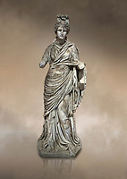 Roman statue of a woman. Marble. Perge. 2nd century AD. Inv no 2015/186. Antalya Archaeology Museum; Turkey. Against a warm art background.