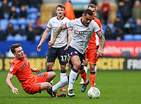 Bolton Wanderers' Josh Magennis breaks away from Millwall's Ben Thompson <br /> <br /> Photographer Andrew Kearns/CameraSport<br /> <br /> The EFL Sky Bet Championship - Bolton Wanderers v Millwall - Saturday 9th March 2019 - University of Bolton Stadium - Bolton <br /> <br /> World Copyright © 2019 CameraSport. All rights reserved. 43 Linden Ave. Countesthorpe. Leicester. England. LE8 5PG - Tel: +44 (0) 116 277 4147 - admin@camerasport.com - www.camerasport.com