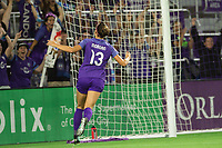 Orlando, FL - Saturday August 12, 2017: Alex Morgan celebrates her goal during a regular season National Women's Soccer League (NWSL) match between the Orlando Pride and Sky Blue FC at Orlando City Stadium.