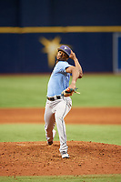 Joe Peguero (7) delivers a pitch during the Tampa Bay Rays Instructional League Intrasquad World Series game on October 3, 2018 at the Tropicana Field in St. Petersburg, Florida.  (Mike Janes/Four Seam Images)