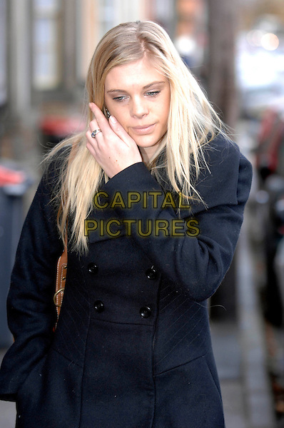 CHELSY DAVY.Leaving her home in Leeds, England..November 13th, 2007.half length black coat jacket hand ring.CAP/IL.©Ian Leonard/Capital Pictures.