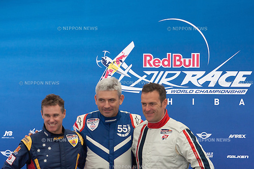 Pilots, Matt Hall, Paul Bonhomme, Matthias Dolderer, at the 2015 Red Bull Air Race on May 17th, 2015 in Chiba, Japan.<br /> This is the first time the Red Bull Air Race has been held in Japan and some 120,000 spectators attended the the race weekend. (Photo by Michael Steinebach/Aflo)