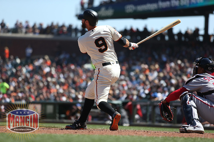 SAN FRANCISCO, CA - APRIL 25:  Brandon Belt #9 of the San Francisco Giants bats against the Washington Nationals during the game at AT&T Park on Wednesday, April 25, 2018 in San Francisco, California. (Photo by Brad Mangin)