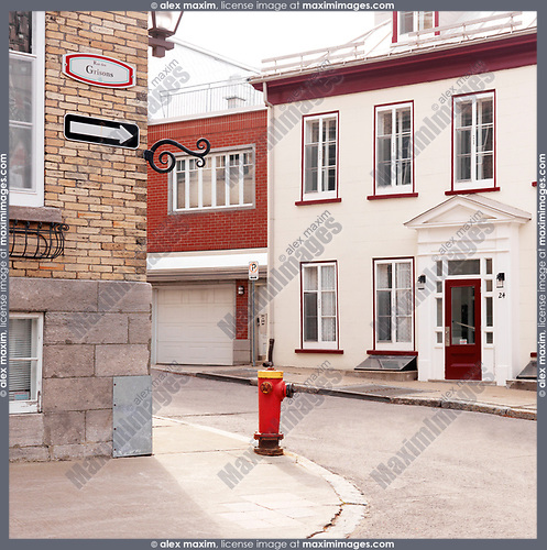 Fire hydrant on Rue des Grisons and Mont Carmel streets in Old Quebec City, Canada. Rue des Grisons, Rue Mont-Carmel, Ville de Québec.
