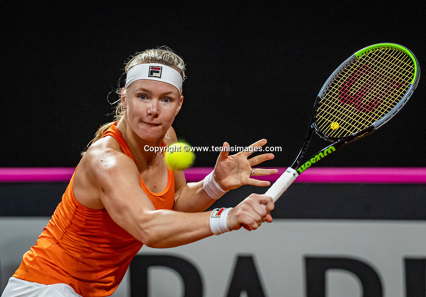 The Hague, The Netherlands, Februari 7, 2020,    Sportcampus, FedCup  Netherlands -  Balarus, Seccond match on friday:  Kiki Bertens (NED)<br /> Photo: Tennisimages/Henk Koster