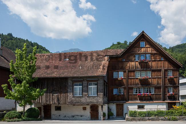 Holzhaus, wooden house, Bauernhaus, farmhouse, casa de madera, Sevelen, St. Gallen, SG, Schweiz, Switzerland.<br /> <br /> Foto: Paul Trummer