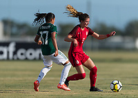 Bradenton, FL - Sunday, June 12, 2018: Kate Wiesner, Natalia Mauleon during a U-17 Women's Championship Finals match between USA and Mexico at IMG Academy.  USA defeated Mexico 3-2 to win the championship.
