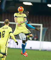 Stevan Jovetic  heads the ball  during the Quartef-final of Tim Cup soccer match,between SSC Napoli and vFC Inter    at  the San  Paolo   stadium in Naples  Italy , January 19, 2016