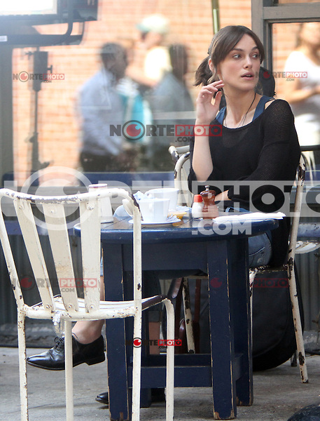 """July 09, 2012 Keira Knightley shooting on location for the new VH-1 film, """"Can a Song Save Your Life ?"""" in New York City. © RW/MediaPunch Inc."""