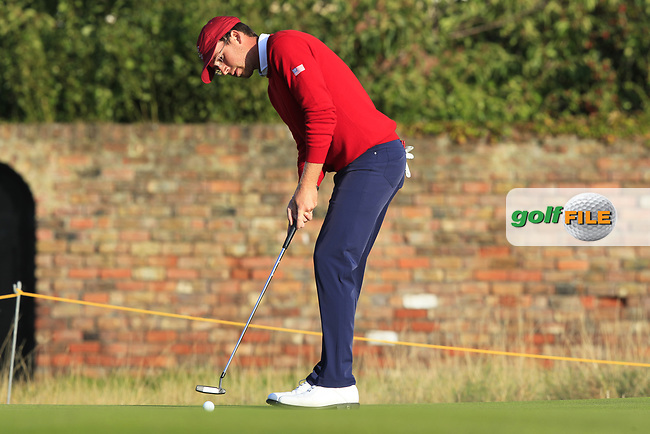 Andy Ogletree (USA) on the 18th during Day 1 Singles of the Walker Cup at Royal Liverpool Golf CLub, Hoylake, Cheshire, England. 07/09/2019.<br /> Picture: Thos Caffrey / Golffile.ie<br /> <br /> All photo usage must carry mandatory copyright credit (© Golffile   Thos Caffrey)