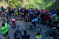 Maglia Rosa / overall leader Richard Carapaz (ECU/Movistar) up the Passo di San Boldo<br /> <br /> Stage 19: Treviso to San Martino di Castrozza (151km)<br /> 102nd Giro d'Italia 2019<br /> <br /> ©kramon