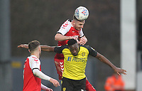 Fleetwood Town's Lewis Coyle jumps with  Burton Albion's Lucas Atkins<br /> <br /> Photographer Mick Walker/CameraSport<br /> <br /> The EFL Sky Bet League One - Burton Albion v Fleetwood Town - Saturday 11th January 2020 - Pirelli Stadium - Burton upon Trent<br /> <br /> World Copyright © 2020 CameraSport. All rights reserved. 43 Linden Ave. Countesthorpe. Leicester. England. LE8 5PG - Tel: +44 (0) 116 277 4147 - admin@camerasport.com - www.camerasport.com