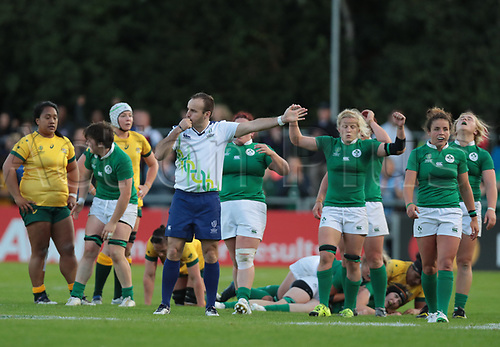 Aug 9th 2017, Dublin, Leinster, Ireland; Women's Rugby World Cup 2017 Group C, Ireland versus Australia;  Referee Tim Baker (Hong Kong) blows the whistle to end a hard fought game and Ireland hold on for the win