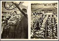 BNPS.co.uk (01202 558833)<br /> Pic: ChalkwellAuctions/BNPS<br /> <br /> The carefully orchestrated pictures show the popularity of the Fuhrer before the war including the infamous Nuremberg rally.<br /> <br /> Found in a cardboard box...a meticulous account ofthe pre war rise of the cult of Hitler.<br /> <br /> An incredible picture archive that charts the rise of Hitler believed to have been meticulously documented by a fan of the Fuhrer has emerged for sale.<br /> <br /> The collection of propaganda photographs show Adolf Hitler on a charm offensive in the 1920s and 30s - before the evil dictator started the Second World War and eliminated at least five million Jews in the Holocaust.<br /> <br /> Some of the images try to show a softer side to the Nazi leader, with him feeding a small deer and accepting a bouquet from a young girl.<br /> <br /> Others chillingly show the hype created around him - rows of people performing the straight-arm Nazi salute, a young boy beaming as Hitler signs an autograph for him and a group of girls giggling as they chat to the party leader.