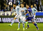 Deportivo Alaves' Ibai Gomez (r) and Celta de Vigo's Marcelo Diaz (l) and Hugo Mallo during Spanish Kings Cup semifinal 2nd leg match. February 08,2017. (ALTERPHOTOS/Acero)