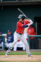 New Hampshire Fisher Cats second baseman Cavan Biggio (6) at bat during the first game of a doubleheader against the Harrisburg Senators on May 13, 2018 at FNB Field in Harrisburg, Pennsylvania.  New Hampshire defeated Harrisburg 6-1.  (Mike Janes/Four Seam Images)