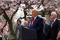 United States President Donald J. Trump speaks during a news conference in the Rose Garden at the White House in Washington D.C., U.S., on Friday, March 13, 2020.  Trump previously announced he will declare a national emergency in response to the Coronavirus.  <br /> Credit: Stefani Reynolds / CNP/AdMedia