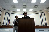 United States Representative Ayanna Pressley (Democrat of Massachusetts) and United States Representative Ilhan Omar (Democrat of Minnesota) speak during a press conference at the United States Capitol in Washington D.C., U.S., on Thursday, December 5, 2019. <br /> <br /> Photographer: Stefani Reynolds/CNP