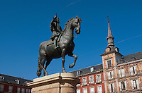 Spanien, Denkmal Felipe III auf der Plaza Mayor in Madrid