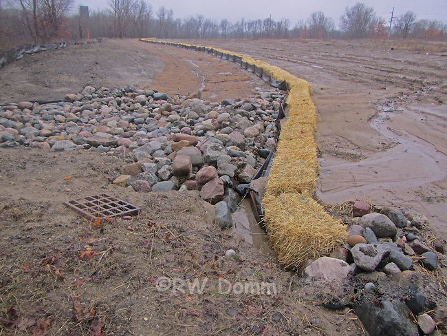 erosion control silt fence, straw bales, rip rap