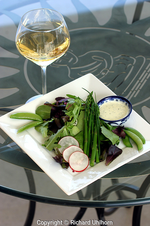 "Food and wine go together, but pairing them is an art in and of itself. This salad has been paired with Karma Vineyards Estate Gewurztraminer. The image was taken for ""Savoring Chelan"" a 2010 recipe book about pairing wines with food."