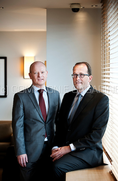 François Parisis, chief wealth structuring officer, and Xavier Bocquet , head of estate planning, from the private banking company Puilaetco Dewaay (Belgium, 25/06/2014)