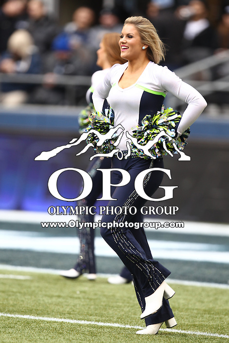 Dec 30, 2012:  Seattle Sea Gals Carli Tripp entertained fans through out the game during Sunday nights game of the week at Century Link Stadium in Seattle WA.  Seattle defeated St. Louis 20-13.