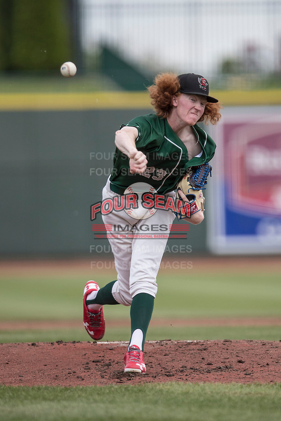 Great Lakes Loons pitcher Dustin May (23) delivers a pitch to the plate against the Bowling Green Hot Rods during the Midwest League baseball game on June 4, 2017 at Dow Diamond in Midland, Michigan. Great Lakes defeated Bowling Green 11-0. (Andrew Woolley/Four Seam Images)