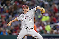Texas A&M Aggies pitcher Grayson Long (38) delivers a pitch to the plate during the NCAA baseball game against the Houston Cougars on March 7, 2015 in the Houston College Classic at Minute Maid Park in Houston, Texas. Texas A&M defeated Houston 6-0. (Andrew Woolley/Four Seam Images)