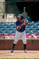 Rome Braves second baseman Luis Mejia (9) at bat during a game against the Lexington Legends on May 23, 2018 at Whitaker Bank Ballpark in Lexington, Kentucky.  Rome defeated Lexington 4-1.  (Mike Janes/Four Seam Images)