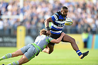 Aled Brew of Bath Rugby is tackled by Sam Stuart of Newcastle Falcons. Aviva Premiership match, between Bath Rugby and Newcastle Falcons on September 23, 2017 at the Recreation Ground in Bath, England. Photo by: Patrick Khachfe / Onside Images