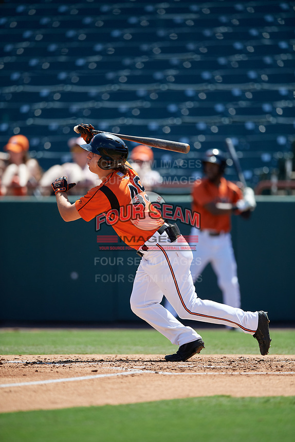 Bowie Baysox T.J. Nichting (49) bats during an Eastern League game against the Binghamton Rumble Ponies on August 21, 2019 at Prince George's Stadium in Bowie, Maryland.  Bowie defeated Binghamton 7-6 in ten innings.  (Mike Janes/Four Seam Images)