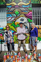 Wairarapa Arts Festival trustee Jo Beetham (left), artist Sean Duffell and Masterton mayor Lyn Patterson in Masterton, New Zealand on Thursday, 19 October 2017. Photo: Dave Lintott / lintottphoto.co.nz