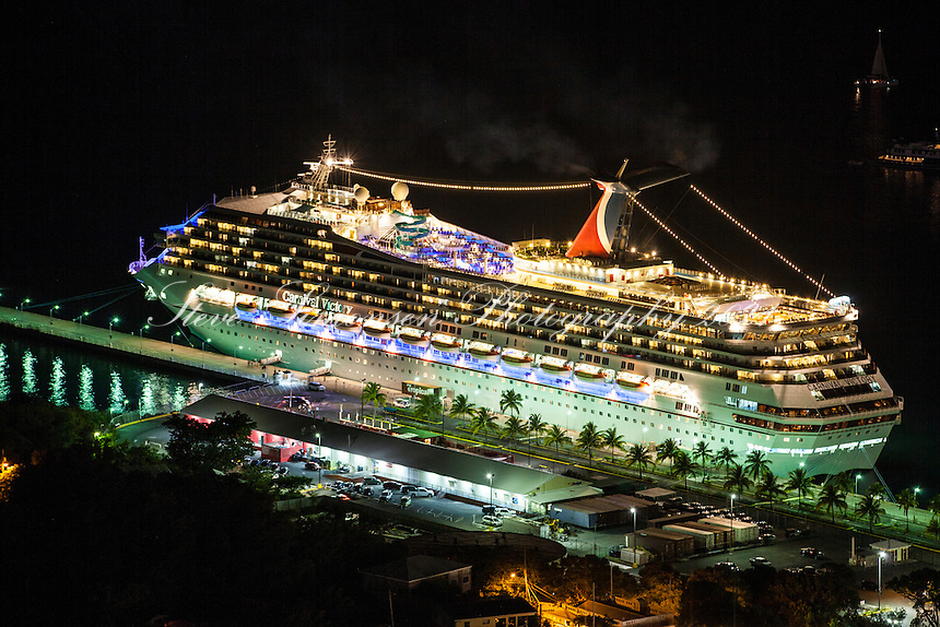 Ships in the harbor at night<br /> Charlotte Amalie<br /> St. Thomas<br /> U.S. Virgin Islands