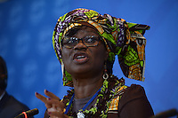 Washington, DC - April 16, 2016: Rosine Sori-Coulibaly, Minister of Finance, Burkina Faso, participates in a press briefing of African finance ministers at the IMF HQ2 building during the IMF/World Bank Spring Meetings in the District of Columbia, April 16, 2016.  (Photo by Don Baxter/Media Images International)