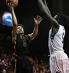 SIOUX FALLS, SD: MARCH 22:  Ian Smith #0 of Northern State gets a layup past Lewis Diankulu #5 of Queens (NC) during their game at the 2018 Division II Men's Basketball Championship at the Sanford Pentagon in Sioux Falls, S.D. (Photo by Dick Carlson/Inertia)