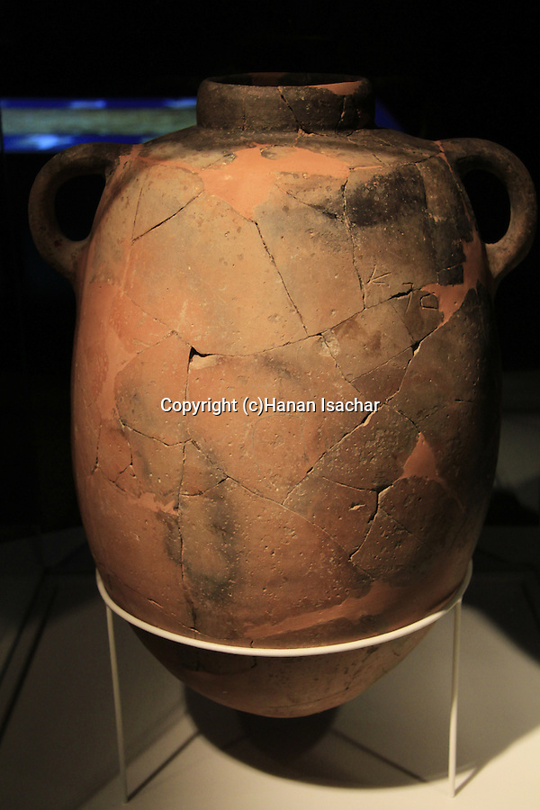 A 10th century BC jar with the word RFA fromTel Zafit, site of biblical Gath, on display at the Corinne Maman Museum of Philistine Culture in Ashdod.<br /> Goliath the Philistine was a descendent of the giant Rafa people