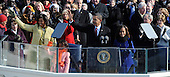 Washington, DC - January 20, 2009 -- United States President President Barack Obama and family wave to the crowd after delivering his Inaugural address after being sworn in as the 44th President of the United States in Washington, DC, USA 20 January 2009. Obama defeated Republican candidate John McCain on Election Day 04 November 2008 to become the next U.S. President.Credit: Pat Benic - Pool via CNP