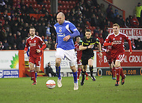 Sam Parkin breaking through to assist in the opening goal in the Aberdeen v Queen of the South William Hill Scottish Cup 5th Round match played at Pittodrie Stadium, Aberdeen on 4.2.12.