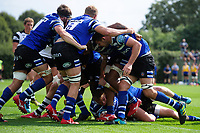 Tom Doughty of Bath United scores a try in the second half. Premiership Rugby Shield match, between Bristol Bears A and Bath United on August 31, 2018 at the Cribbs Causeway Ground in Bristol, England. Photo by: Patrick Khachfe / Onside Images