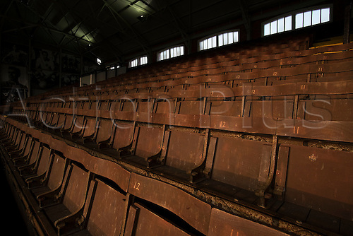 18.03.2015.  London, England. Skybet Championship. Fulham versus Leeds United. The evening Spring sunshine lights the old wooden seats at Craven Cottage.