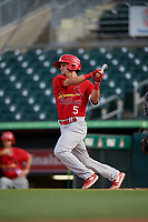 Palm Beach Cardinals left fielder Chase Pinder (5) hits a single during a game against the Jupiter Hammerheads on August 4, 2018 at Roger Dean Chevrolet Stadium in Jupiter, Florida.  Palm Beach defeated Jupiter 7-6.  (Mike Janes/Four Seam Images)