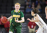 SIOUX FALLS, SD: MARCH 4: Sarah Jacobson #12 of North Dakota State drives on IUPUI defender Holly Hoopingarner #4 on March 4, 2017 during the Summit League Basketball Championship at the Denny Sanford Premier Center in Sioux Falls, SD. (Photo by Dick Carlson/Inertia)