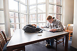 Junior accounting major Adam Hall studies for his management final.  Photo by Kevin Bain/University Communications Photography